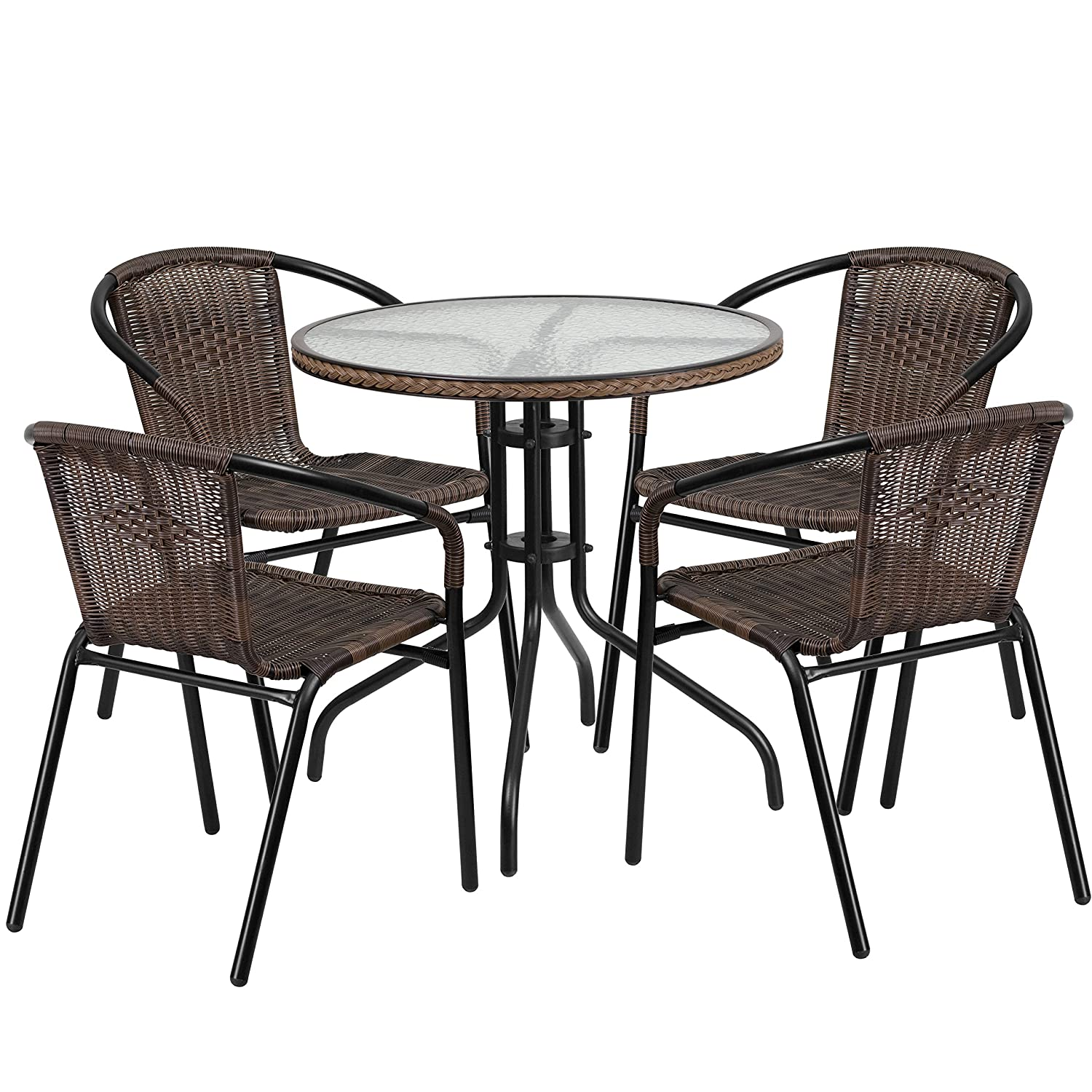 Amazon Flash Furniture 28 Round Glass Metal Table with Gray