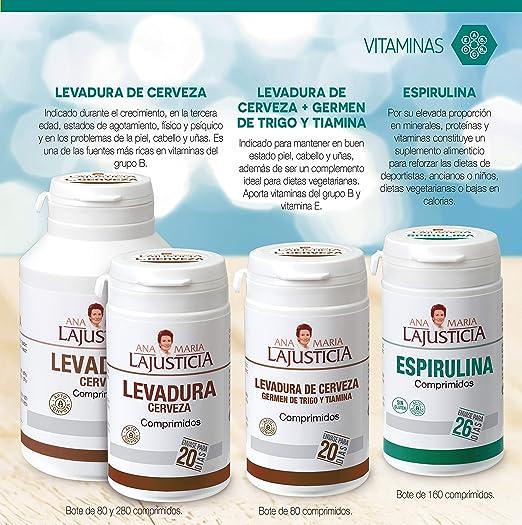 Ana Maria Lajusticia - Espirulina – 160 comprimidos fuente de proteínas, vitaminas y minerales. Detox y saciante. Apto para veganos. Envase para 26 ...