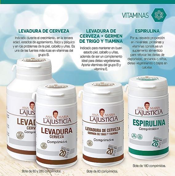 Ana Maria Lajusticia - Espirulina – 160 comprimidos fuente de proteínas, vitaminas y minerales. Detox y saciante. Apto para veganos. Envase para 26 días de tratamiento.: Amazon.es: Salud y cuidado personal