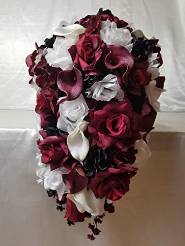 Amazon.com: Burgundy Black White Rose Calla Lily Cascading Bridal ...