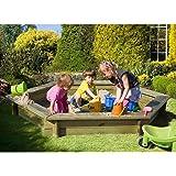Sandkasten 6-eckig aus Holz mit Abdeckung Plane blau von Gartenpirat®
