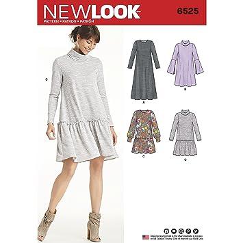 New Look Schnittmuster 6525 Damen Strick Kleid, Papier, weiß, 22 x ...