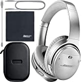 Bose QuietComfort 35 Series II Wireless Noise-Canceling Headphones - Silver (789564-0020) + AOM Bundle - International Version
