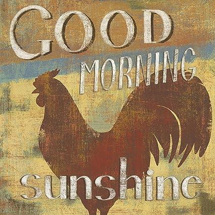 Barnyard Designs Good Morning Sunshineu0027 Rooster Retro Vintage Tin Bar Sign  Country Home Decor 11u0026quot