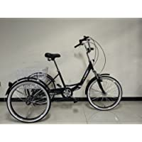 """Scout Adults folding tricycle, 24"""" wheels, 6 speed shimano gears, adult trike, (Black)"""