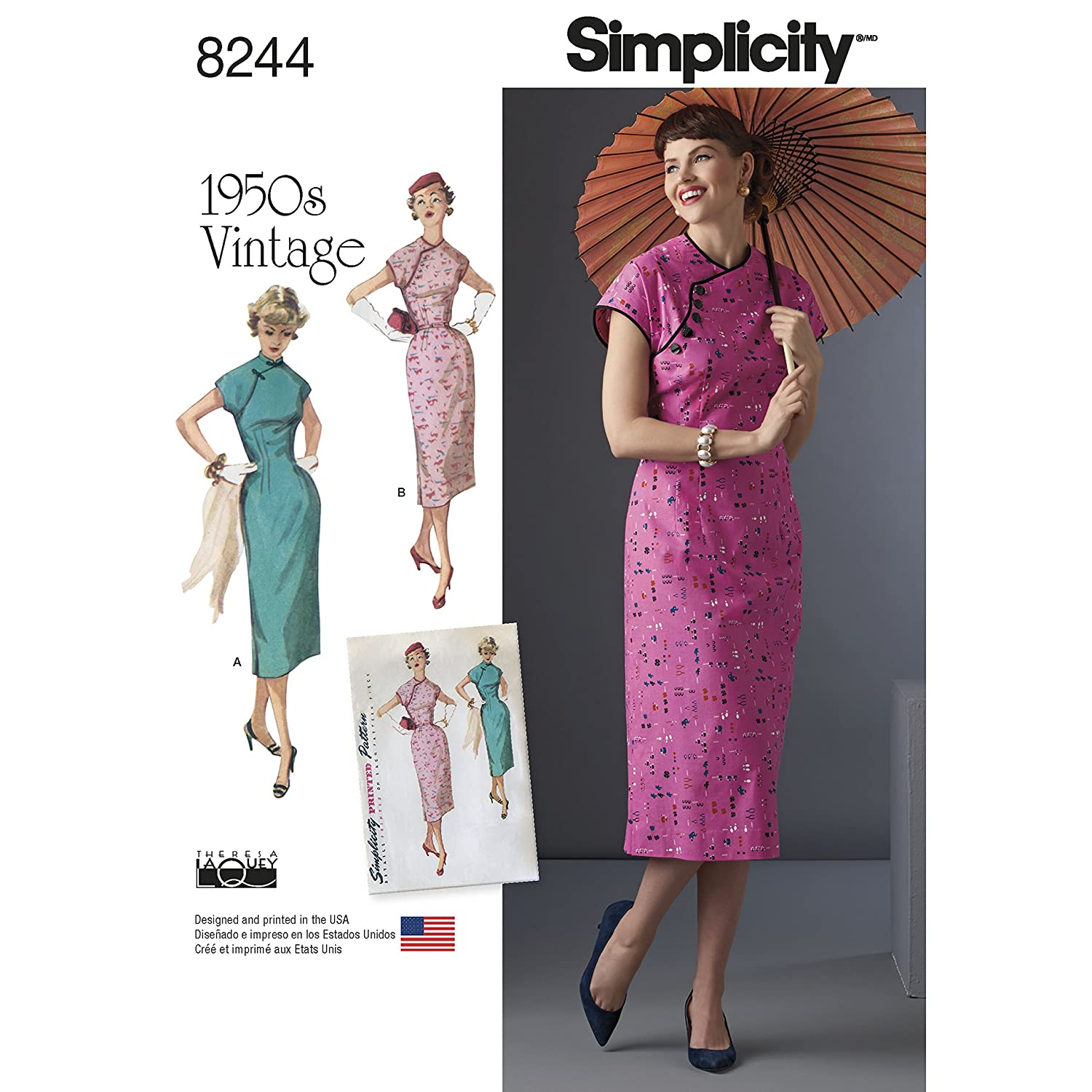 1950s Sewing Patterns- Dresses, Skirts, Tops, Pants Simplicity Creative Patterns US8244H5 8244 Simplicity Pattern 8244 Misses 1950s DressSize: H5 (6-8-10-12-14) $4.26 AT vintagedancer.com