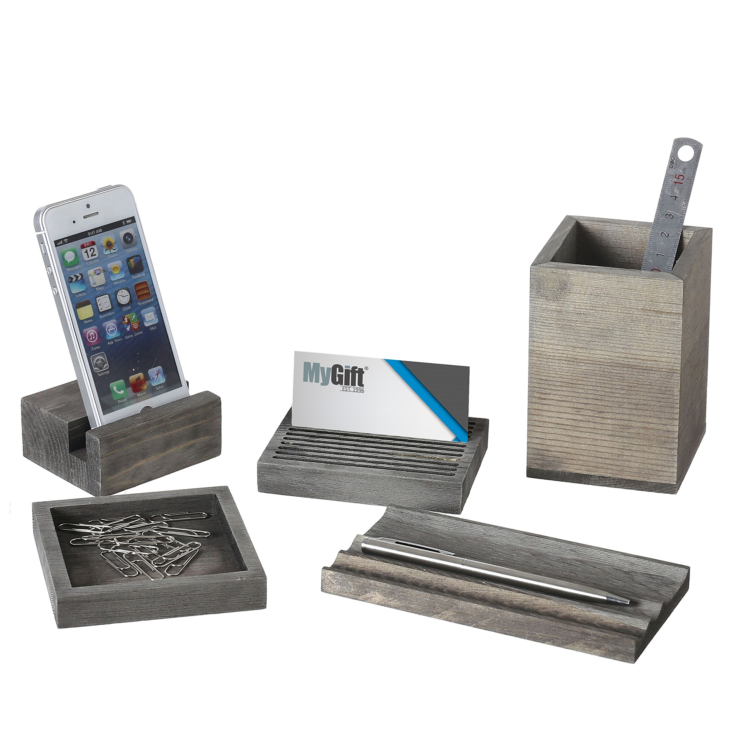 Vintage Gray Wood 5-Piece Desk Set with Pen Tray, Pencil Cup, Memo Pad & Card Holders, Phone Stand by MyGift