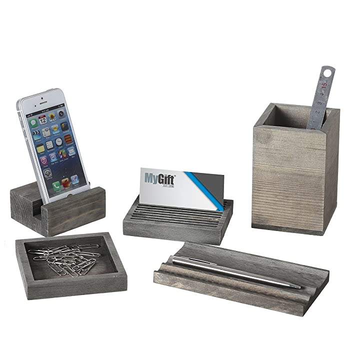 Vintage Gray Wood 5-Piece Desk Set with Pen Tray, Pencil Cup, Memo Pad & Card Holders, Phone Stand