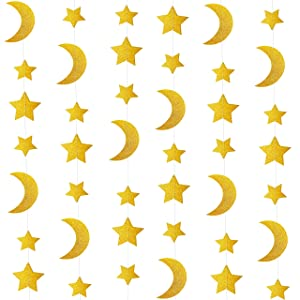 24ft Glitter Gold Twinkle Stars Crescent Paper Garlands Hanging Decorations Honey Moon Wedding Engagement Favors Baby Shower Birthday Christmas Party Table Centerpieces Decorations
