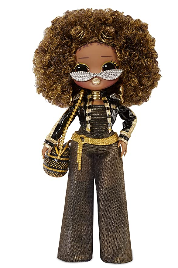 L.O.L. Surprise! O.M.G. Royal Bee Fashion Doll with Big Afro Hair, Black and Gold Pants and Jacket and Sunglasses with Gemstones