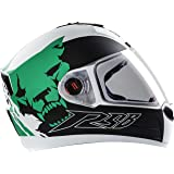 Steelbird Air Beast Helmet with Plain Visor (Glossy White and Green, L)