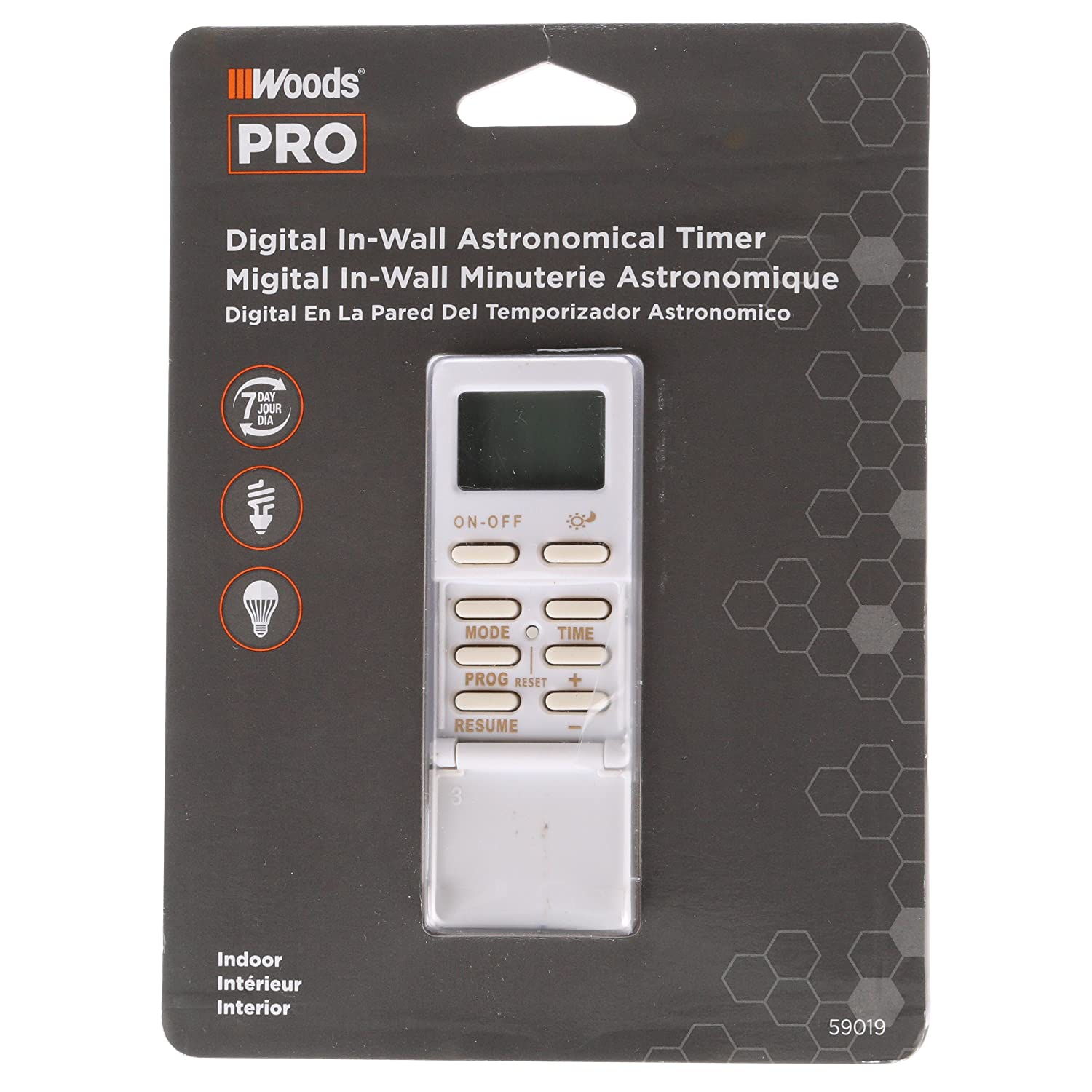 Woods 59019WD In-Wall Astronomical 7-Day Digital Timer with Sun ...