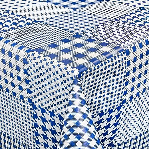 Hule mesa mantel de hule lavable cuadros azul Longitud a Elegir ...