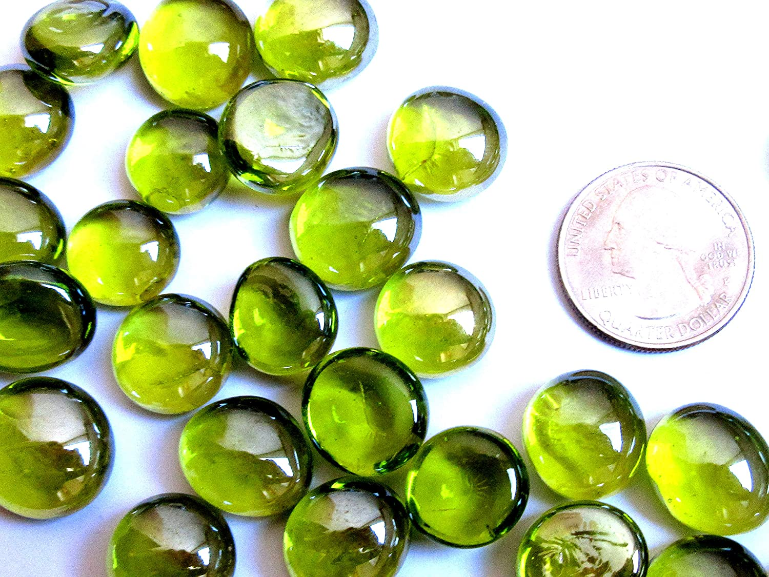 50 Mini Clear Lime Green Glass Gems, 12-16mm Flat Marbles, Vase Fillers, Round Glass Mosaic Tiles- Luster, Small