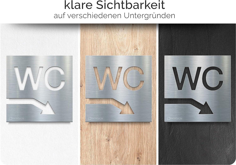 pictogramme avec mat/ériel de montage INOXSIGN W04 Signes de Toilettes enseigne de toilettes en acier inoxydable Plaque de porte toilettes Fl/èche /à droite facile /à installer