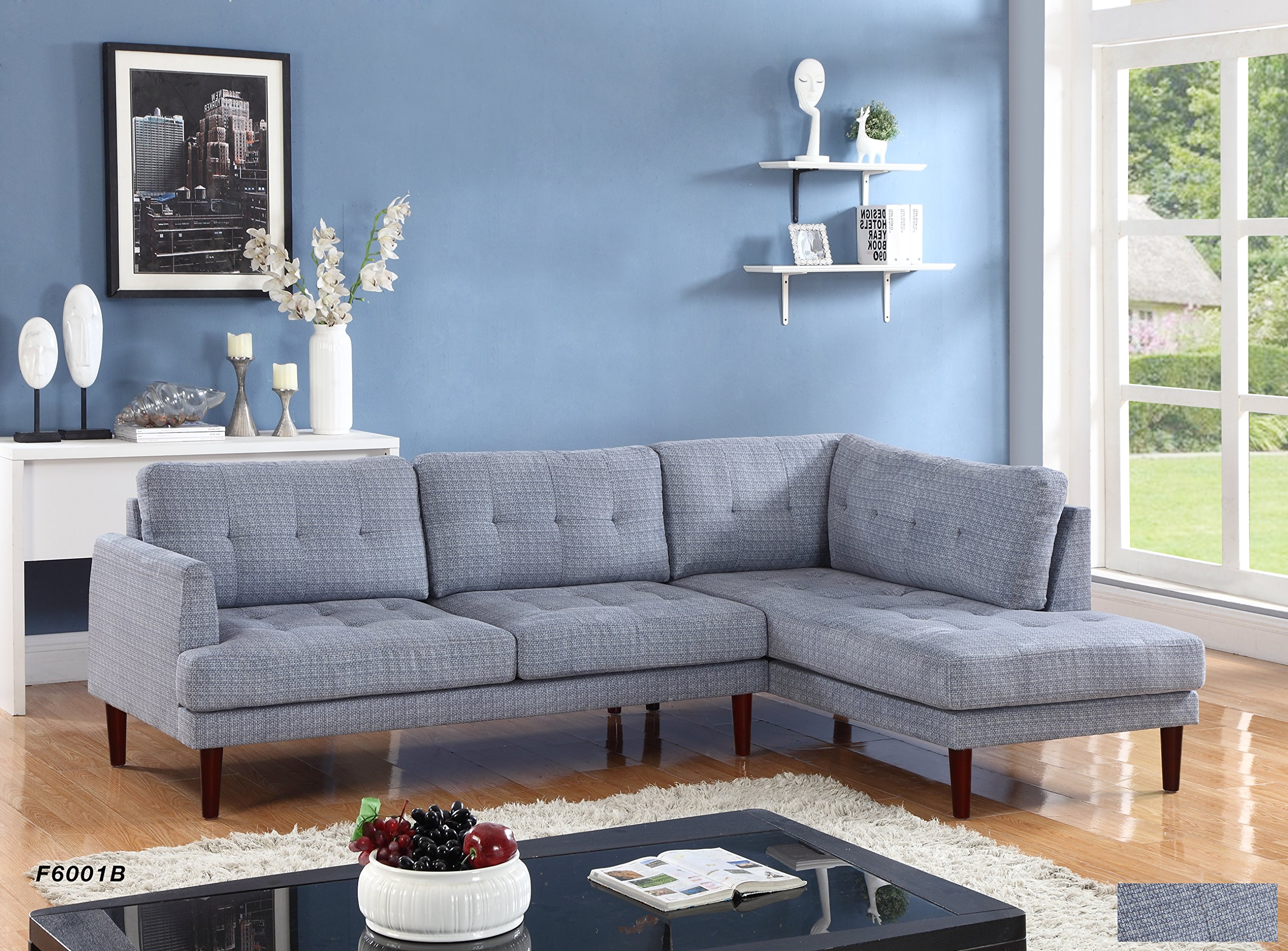 Beverly Fine Furniture SH6001B Emeral Right Facing Linen Sectional Sofa, Light Blue