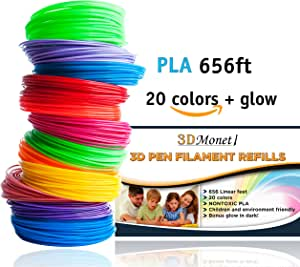 amazon com 3d pen filament refills pla 656 feet 20