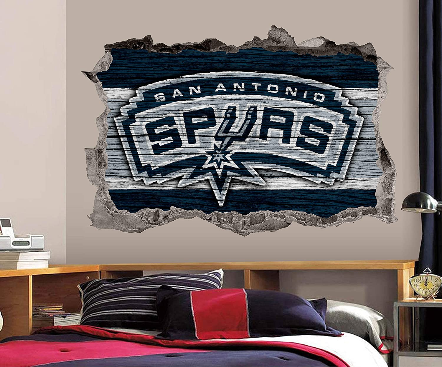 Basketball San Antonio Team Wall Decals Art 3D Smashed Custom Fan Spurs Wall Decor Bedroom Garage Removable Vinyl Wall Stickers Gift WL205