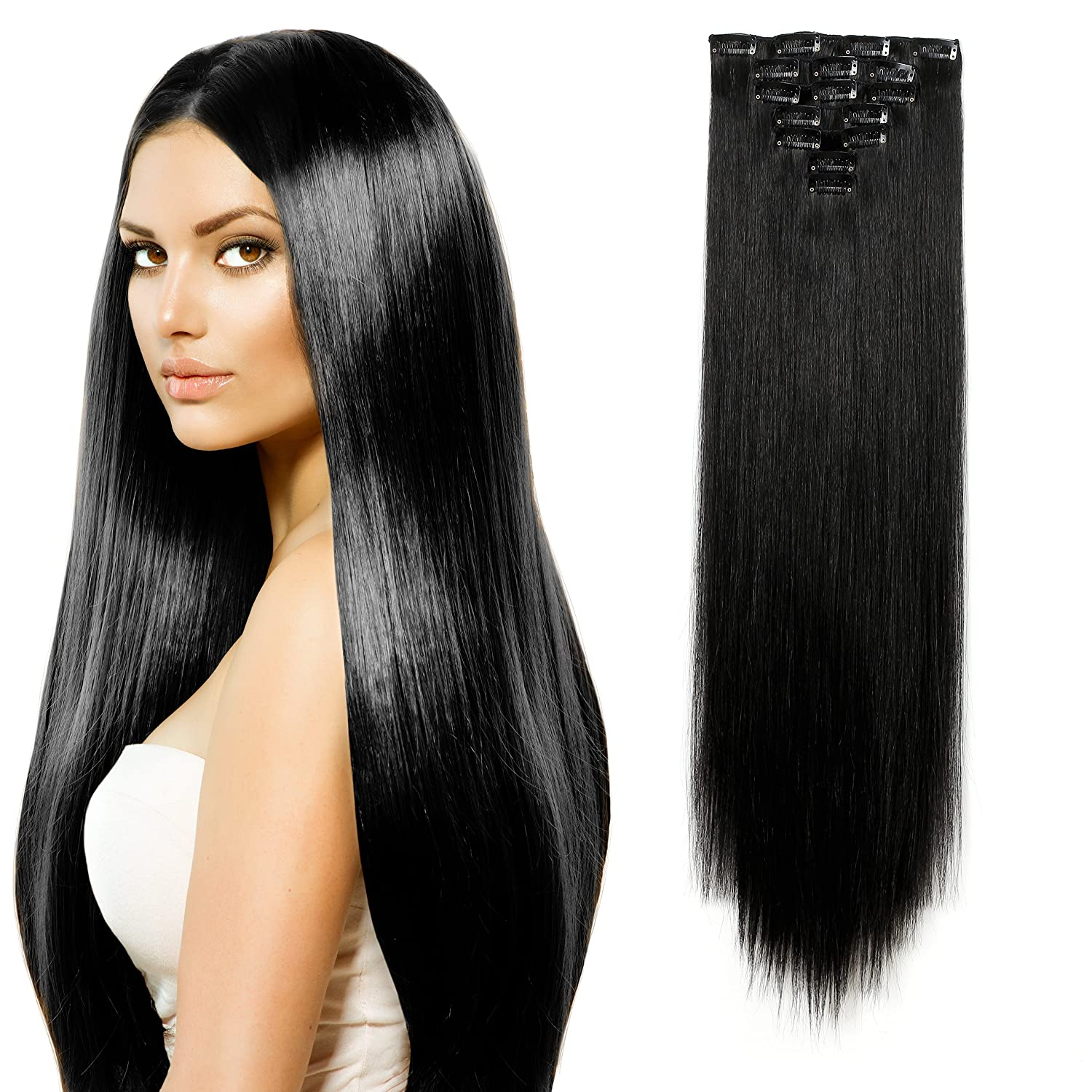 Amazon onedor 24 straight full head kanekalon futura heat amazon onedor 24 straight full head kanekalon futura heat resistance hair extensions clip onin hairpieces 7pcs 140g straight 1b off black pmusecretfo Images