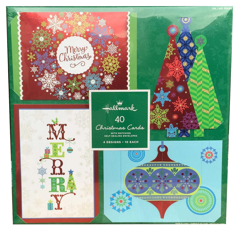 Amazon.com : Hallmark 40 Christmas Holiday Cards with Matching Self ...