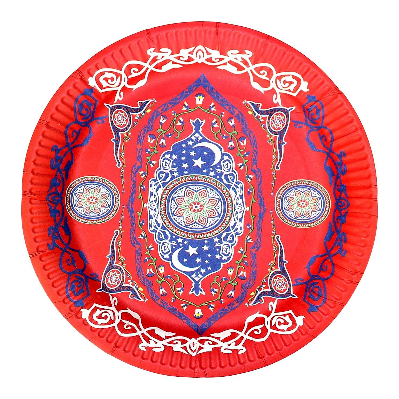 Happy Eid 10 Pack Islam Eid Mubarak Colourful Party Plates Tableware Supplies