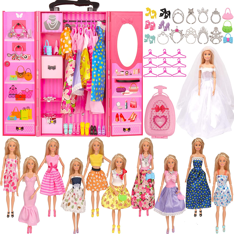 SOTOGO Doll Closet Wardrobe Set