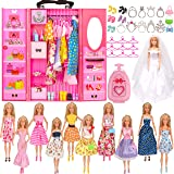 SOTOGO Doll Closet Wardrobe Set for Barbie Clothes Storage Including Clothes, Shoes, Bags, Necklace, Hangers, Trunk, Wardrobe for Barbie Dolls