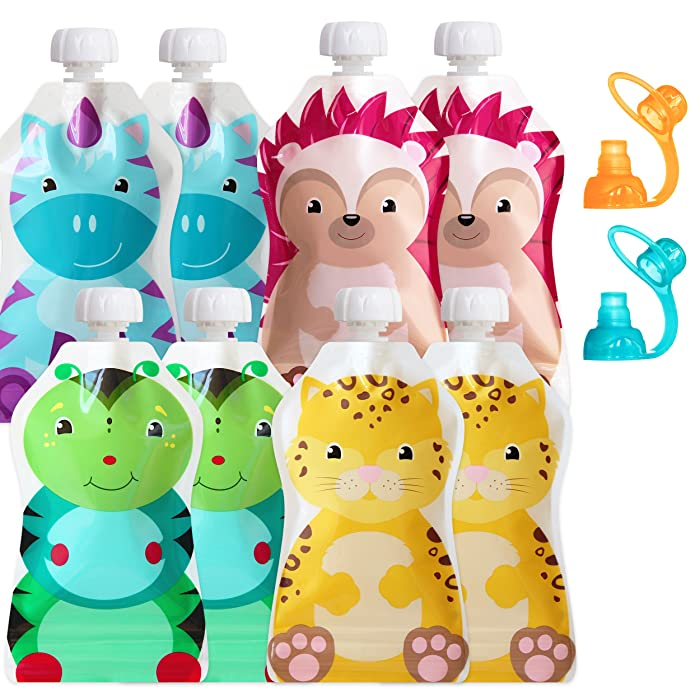 ChooMee Reusable Baby Food Pouch Starter Set, SnakPack | 8 CT, 5 oz | SoftSip Pouch Tops, 2 CT, Orange Aqua