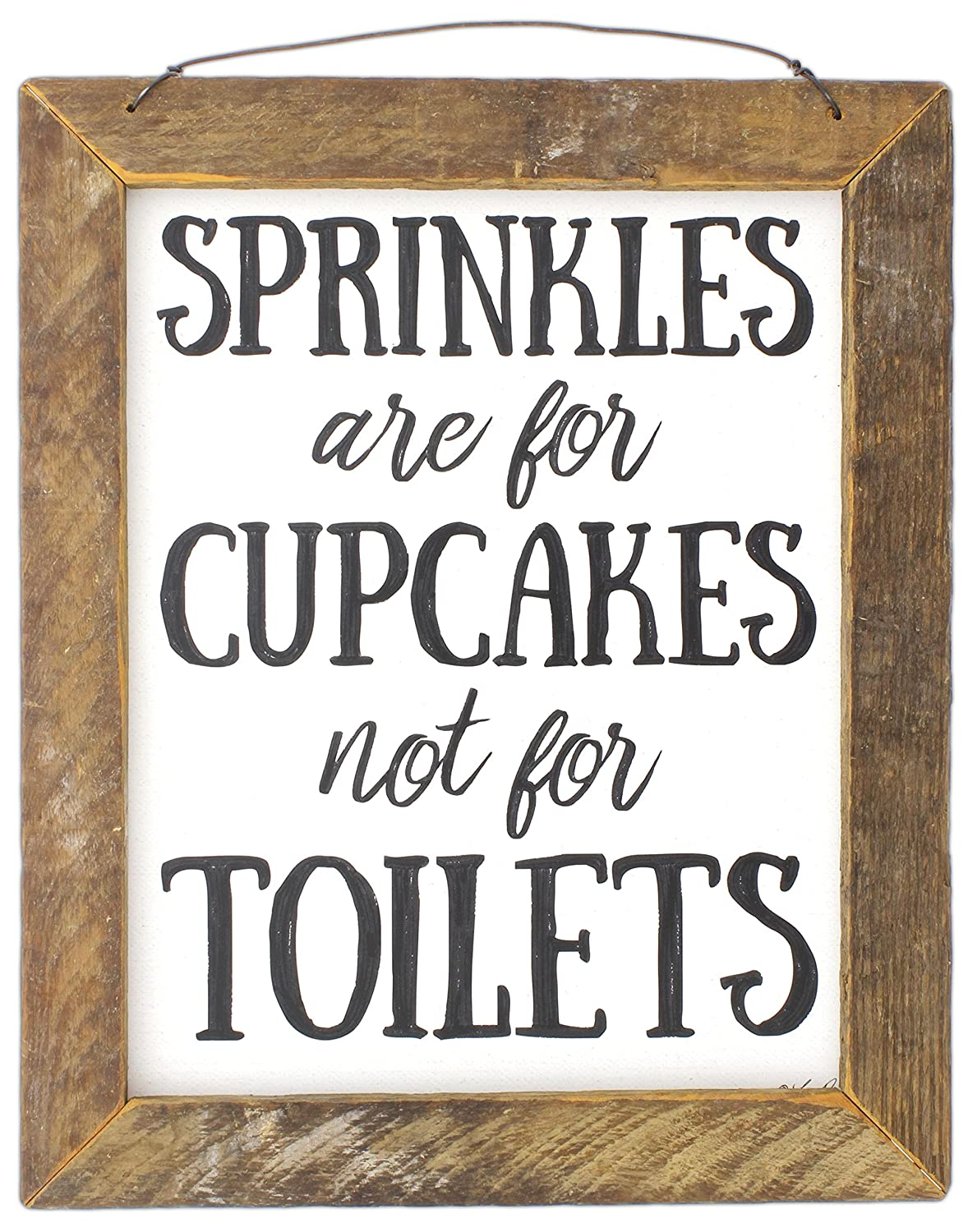 Sprinkles are for Cupcakes Not for Toilets Jan Michaels Rustic Wood Framed Art