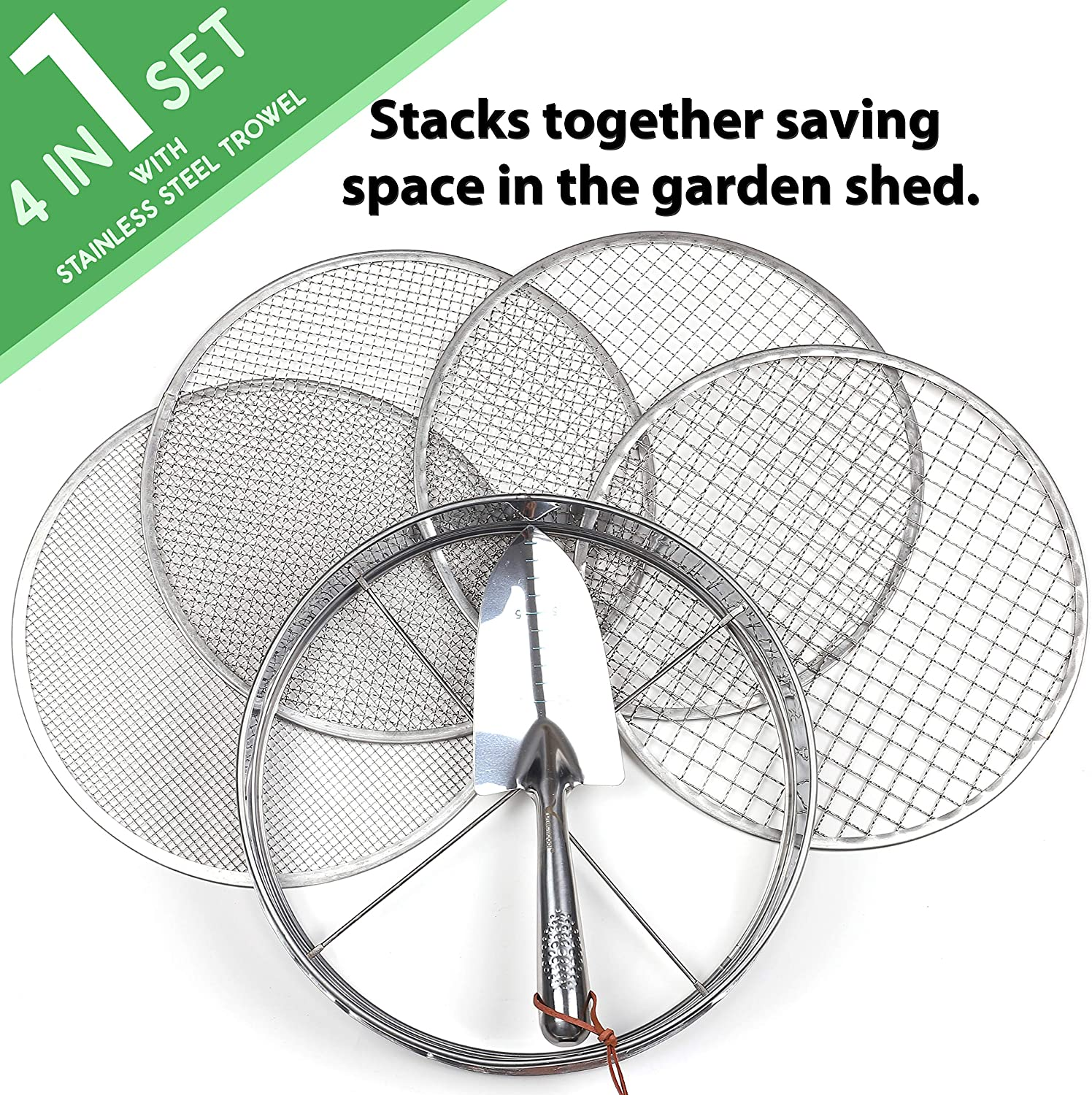 stainless steel riddle 3,6,9,12 mm and bonus spade soil sifting pan Practicool garden potting mix sieve with 4 interchangeable filter mesh sizes