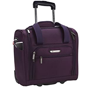 "TPRC 15"" Smart Under Seat Carry-On Luggage with USB Charging Port, Purple"
