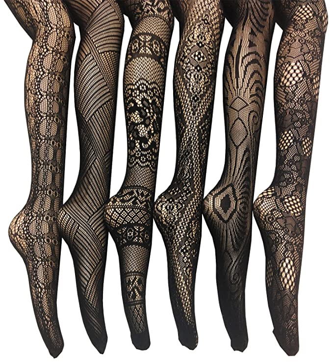 Steampunk Tights  & Socks Fishnet Lace Stocking Tights Extended Sizes (Pack of 6) $22.99 AT vintagedancer.com