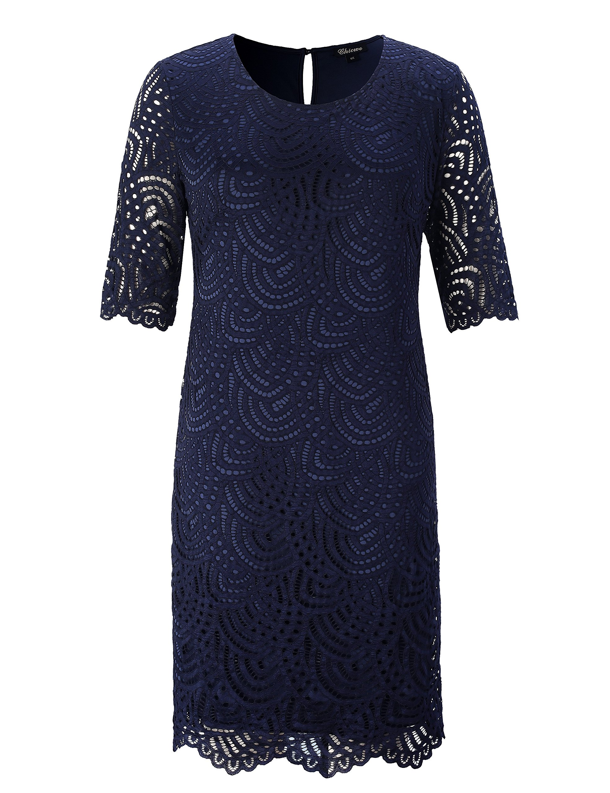 Chicwe Women's Lined Stretch Lace Plus Size Shift Dress with Scalloped Hem and Cuff Navy 3X