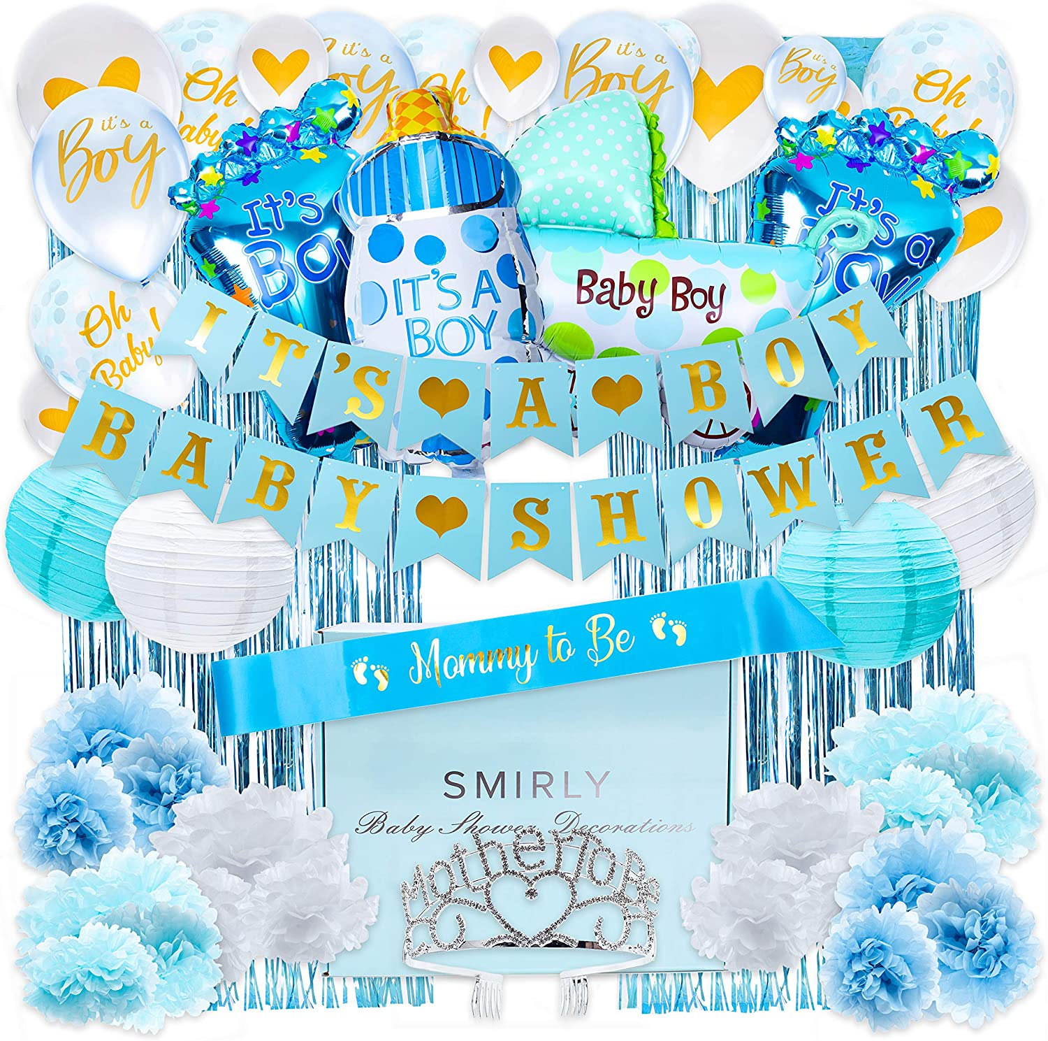 Baby Shower Decorations for Boy Kit: Boys Baby Shower Party Supplies Bundle with Blue, White, and Gold Themed Decor - It's A Boy Party Pack Includes Banner, Balloons, Curtains, Pom Poms and More
