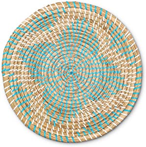 Woven Basket Bowl Wall Hanging | Handmade Decorative Bowl with Hook | Chic Boho Décor, Ideal Housewarming Gift for Her | Blue Seagrass 11 Inches