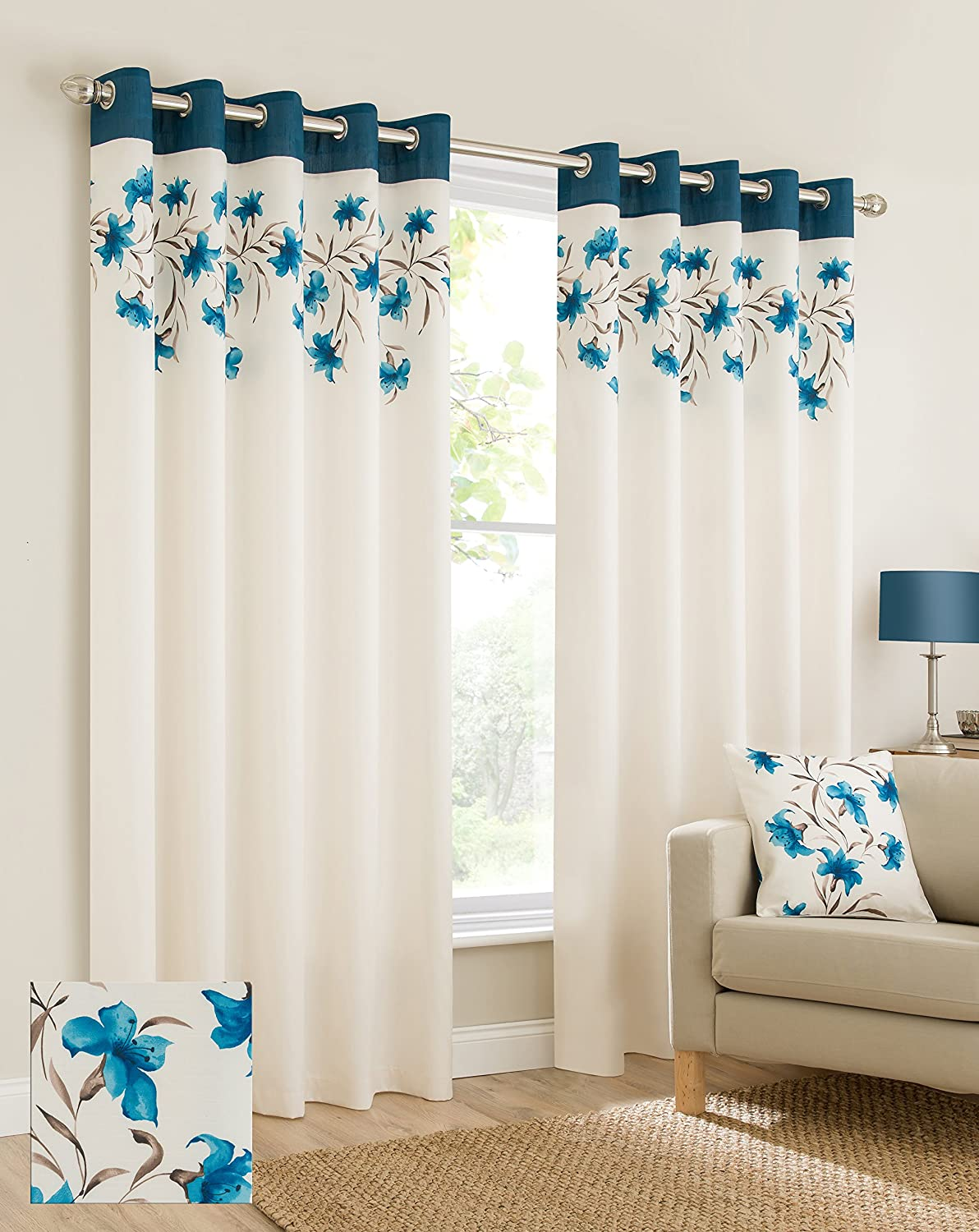 Plain Faux Silk Look Eyelet Ring Top Teal Blue Cream Brown Fully Lined  Curtains Lily Flowers Floral Leaves 46x54 Inches 117cmx137cm Drop Eyelet  Ring Top ...