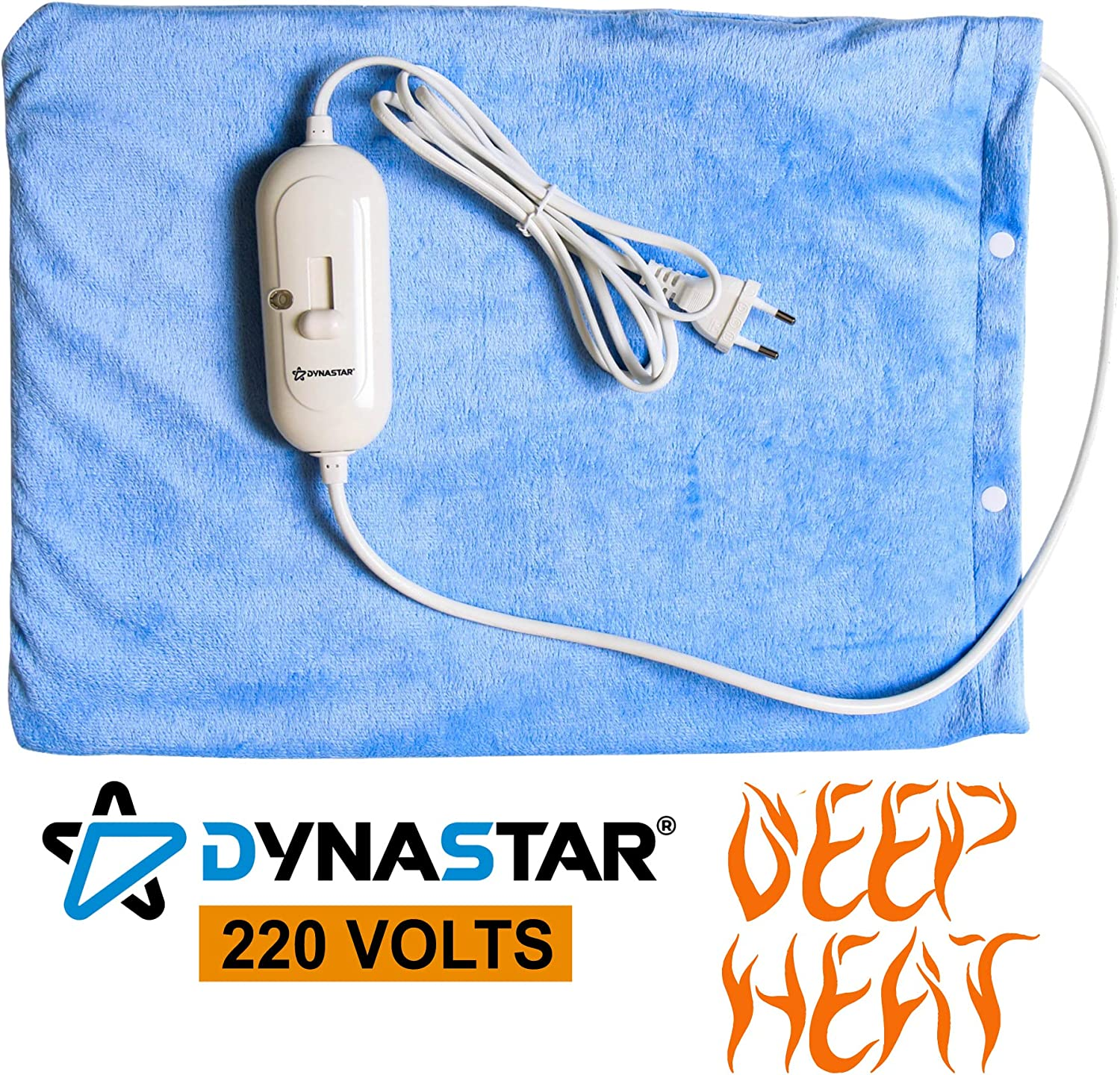 Dynastar 220 Volts Heating Pad 220v 240 Volt Heating pad with Moist/Dry, Fast Heating, Micro Fleece Soft Removable Washable Cover, (Will NOT Work in USA)