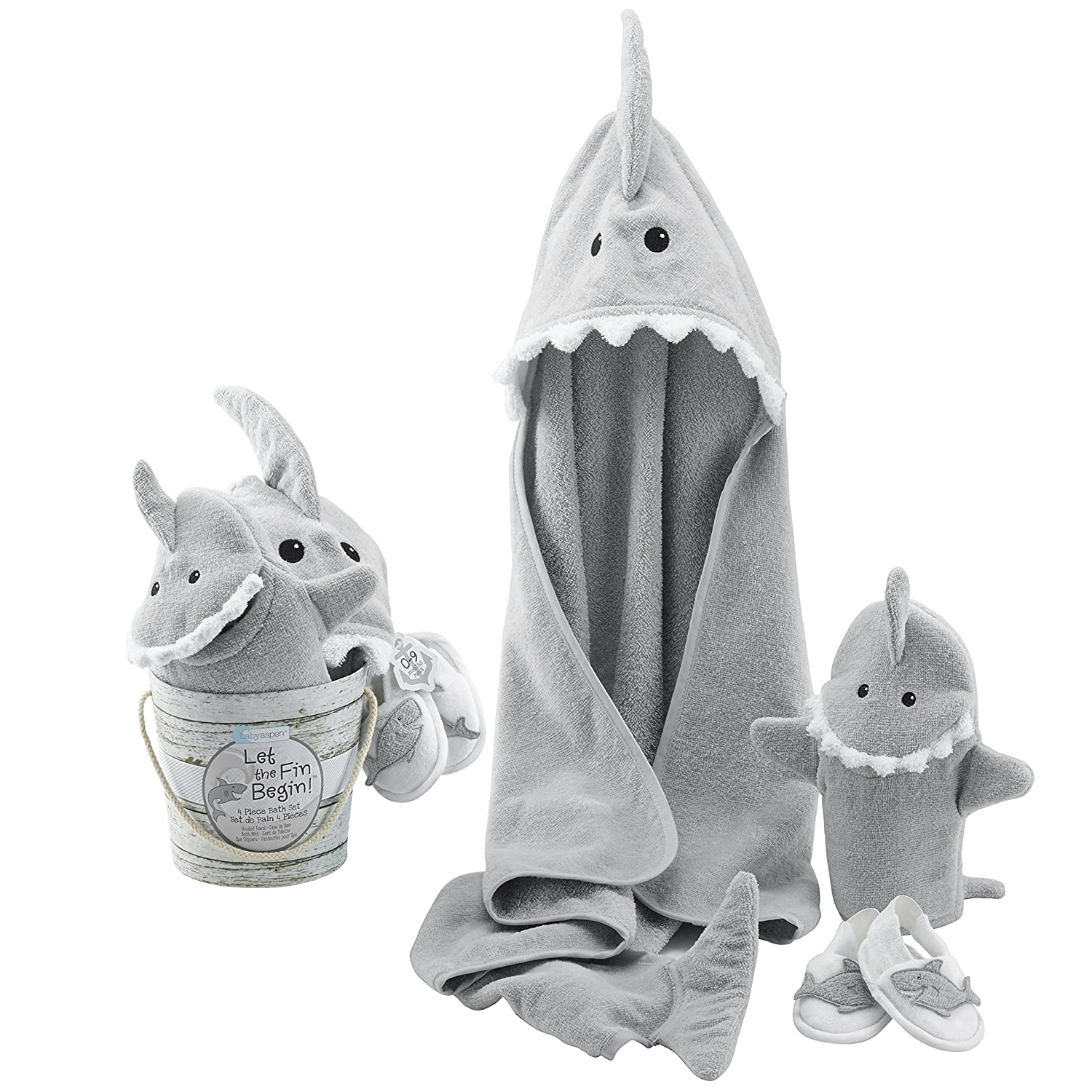Baby Aspen Four-Piece Gift Set, Let the Fin Begin, Blue BA14037NA