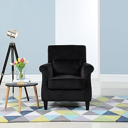Divano Roma Furniture Classic Scroll Arm Velvet Fabric Living Room Armchair (Black)