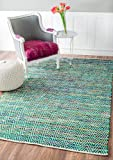 nuLOOM Hand Woven Candy Striped Chevron Area Rugs, 4' x 6', Green