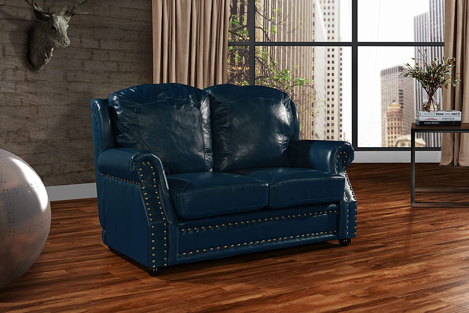 Leather Sofa 2 Seater, Living Room Couch Loveseat with Nailhead Trim (Blue