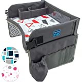 Kids Travel Play Tray by KENLEY KIDS | Car Seat Activity Tray | Waterproof, Food & Snack Tray With Tablet/iPad/Cup Holder | Back Seat Organizer | Padded & Portable