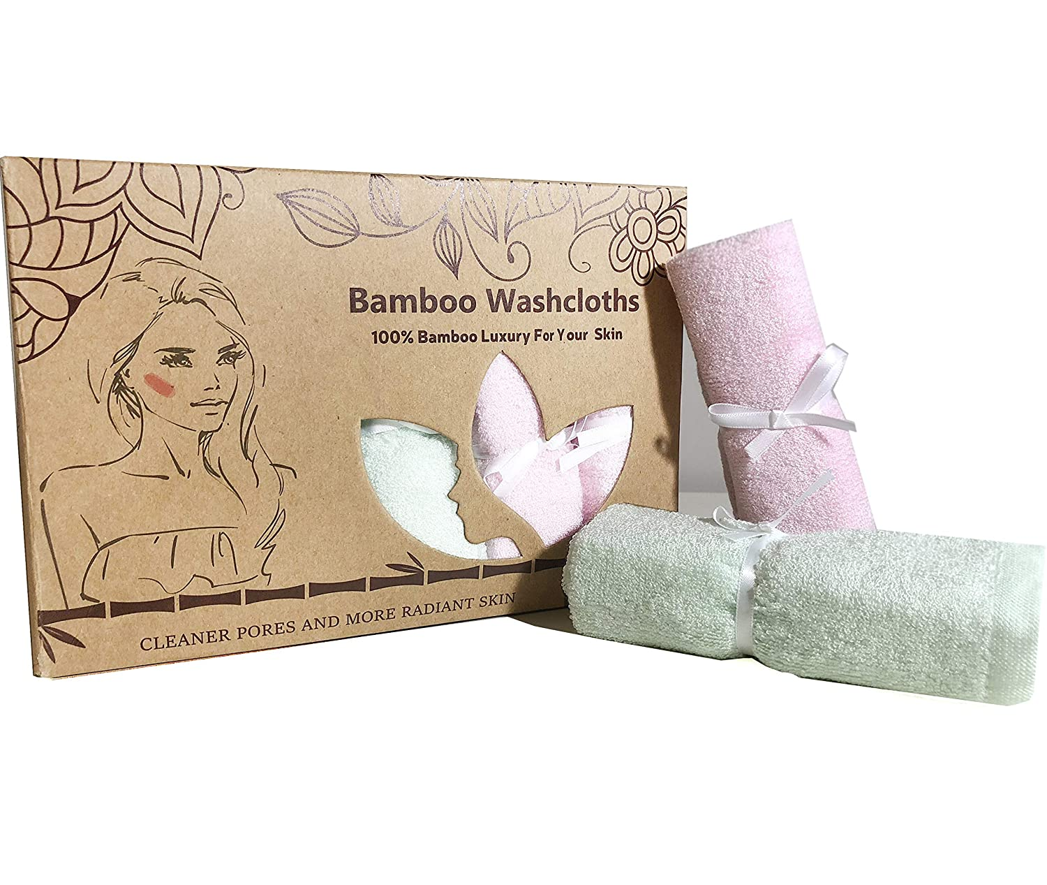 Organic Bamboo Washcloths - Ultra Soft and Super Absorbent Wash Clothes for Face - Perfect for All Ages and Sensitive Skin (Eczema, Rash, Burns) Lucylla