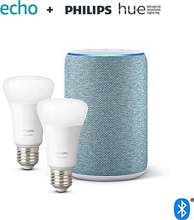 Image ofAmazon Echo (3.ª generación), tela de color añil + Philips Hue White Pack de 2 bombillas LED inteligentes, compatible con Bluetooth y Zigbee, no se requiere controlador