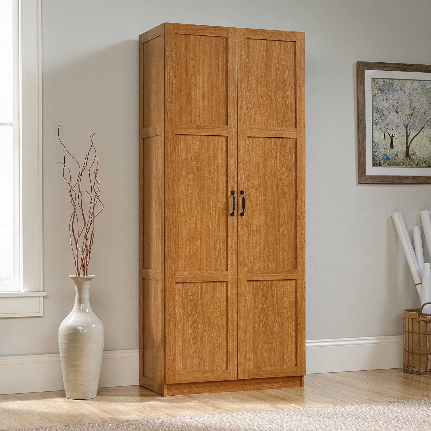 Amazon.com: Sauder Storage Cabinet, Highland Oak Finish: Kitchen U0026 Dining