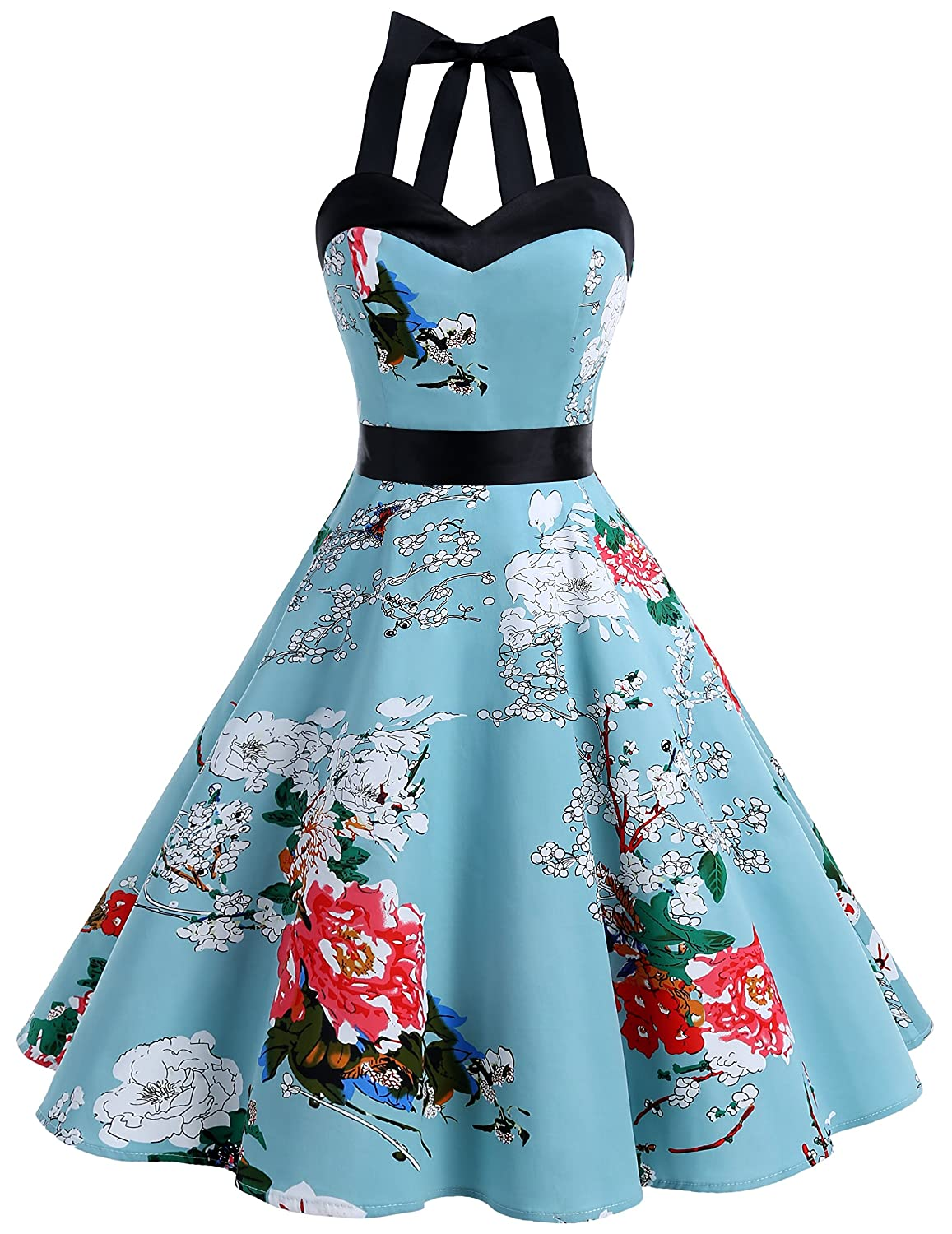 TALLA XL. Dresstells® Halter 50s Rockabilly Polka Dots Audrey Dress Retro Cocktail Dress Floral XL