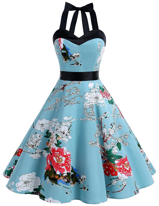 TALLA XL. Dresstells® Halter 50s Rockabilly Polka Dots Audrey Dress Retro Cocktail Dress Floral XL