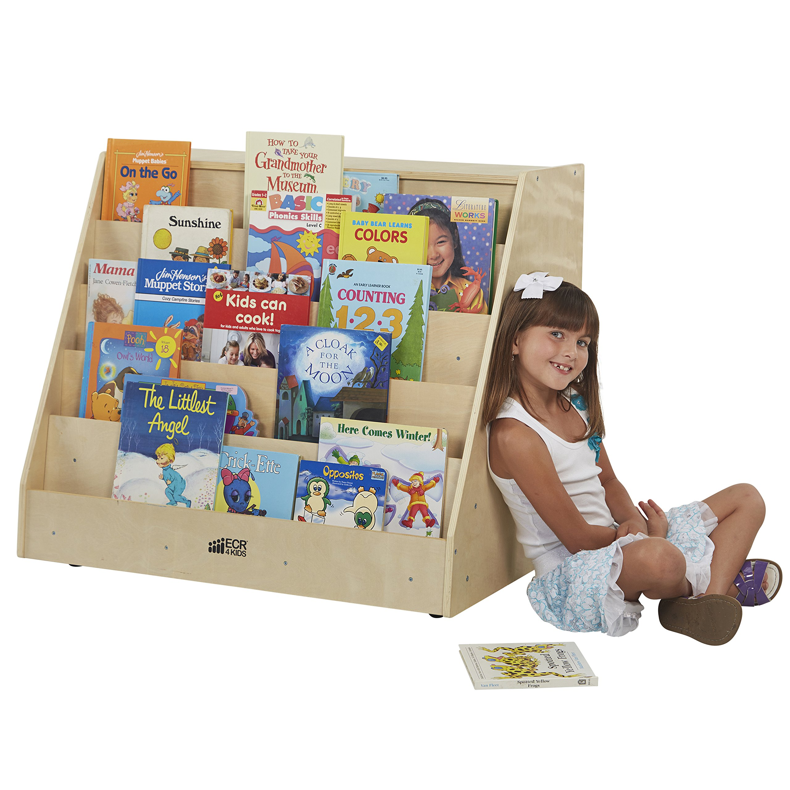 ECR4Kids Birch Hardwood Book Display on Front with Storage, Natural