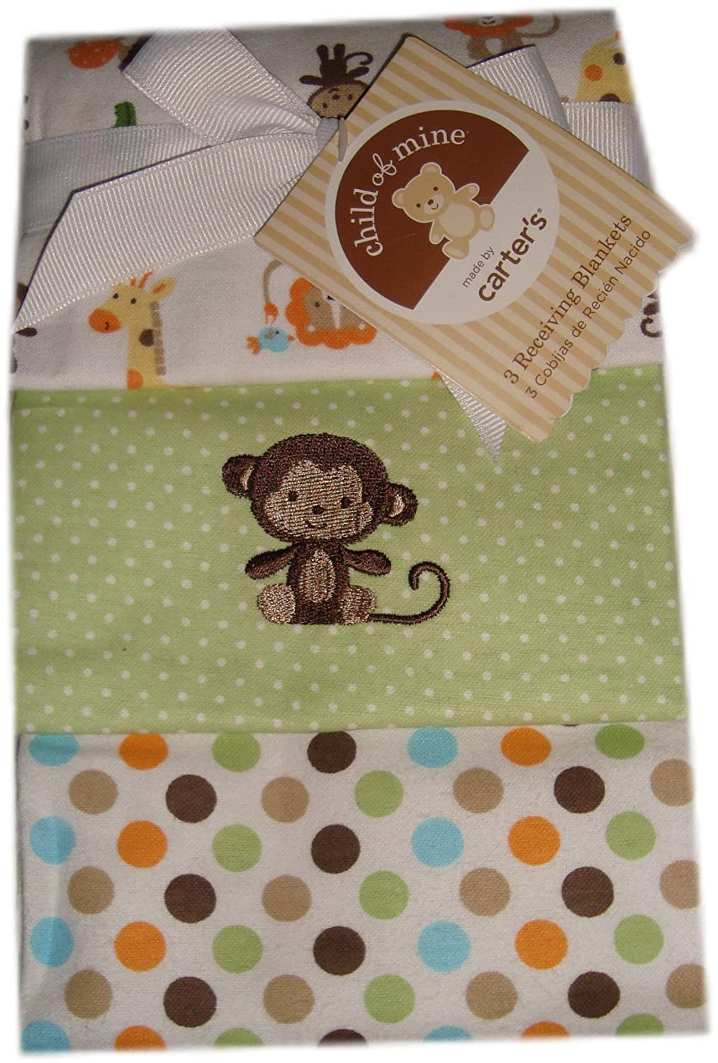 Amazon.com : Baby Boy Flannel Receiving Blankets, 3-Pack Monkey ...