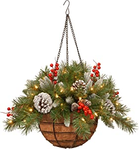 National Tree Company Pre-lit Artificial Christmas Hanging Basket | Flocked with Mixed Decorations and LED Lights | Frosted Berry - 20 Inch